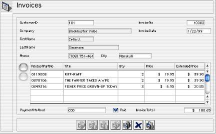 invoice displayed